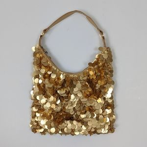 Sparkly gold hobo bag with satin interior
